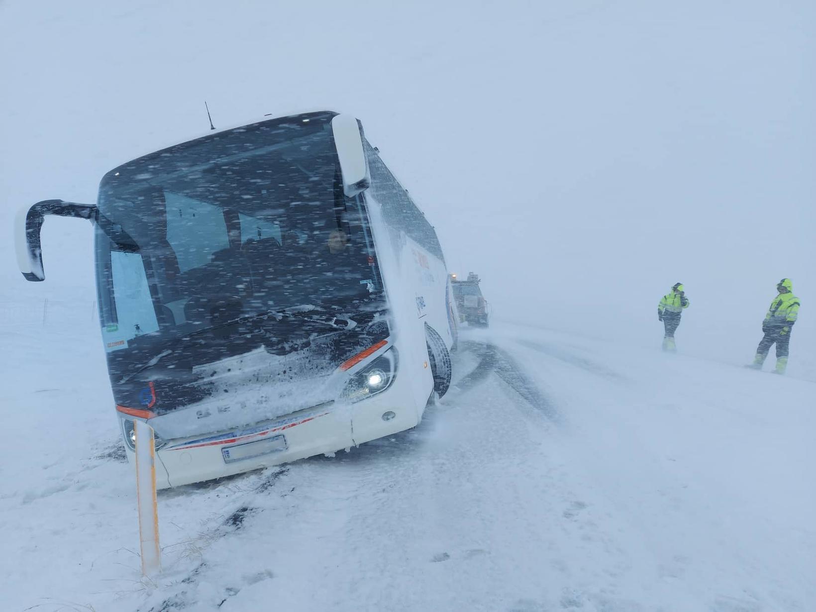 A bus was blown off the road in Hrútafjörður.