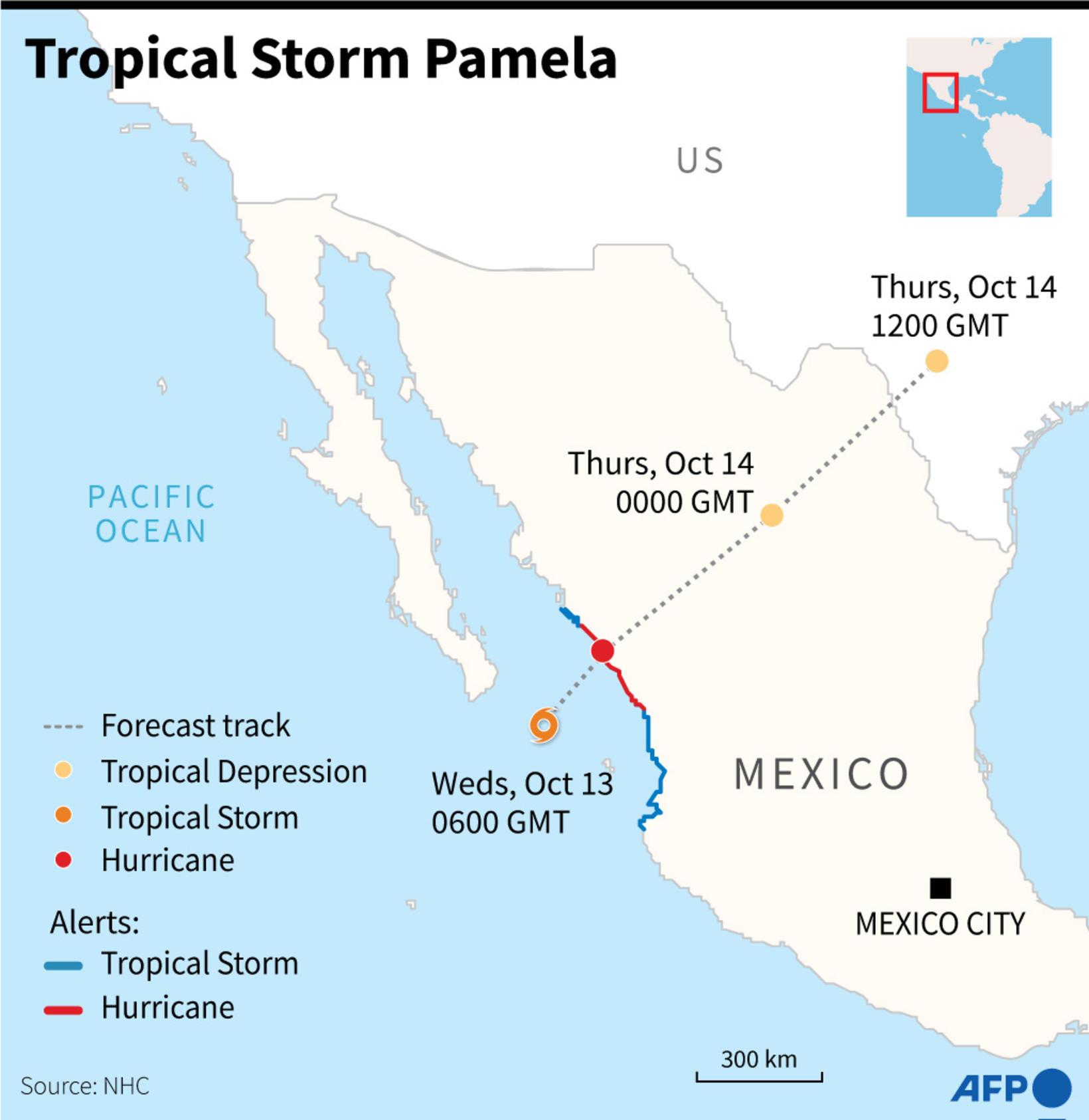 Leiðin sem áætlað er að hitabeltisstormurinn Pamela fari yfir Mexikó.