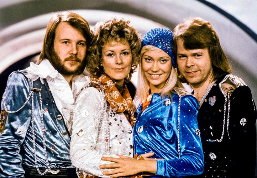 Benny Andersson, Anni-Frid Lyngstad, Agnetha Faltskog og Bjorn Ulvaeus árið ...