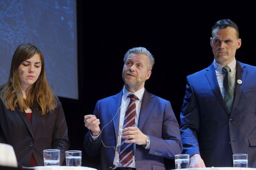 Dóra Björt Guðjónsdóttir, Eyþór Arnalds og Ingvar Jónsson á fundinum ...