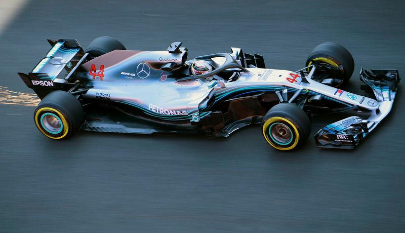 Lewis Hamilton tí Barcelona í dag.