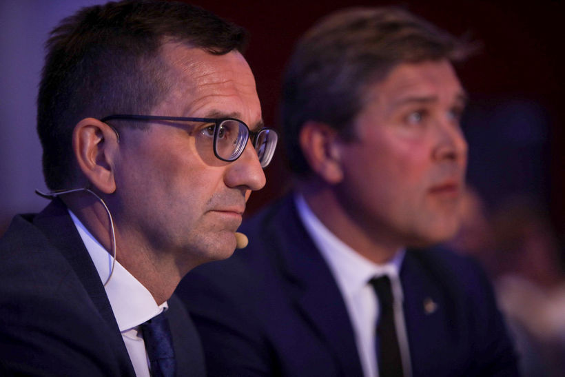 Hörður Arnarson forstjóri og Bjarni Benediktsson ráðherra.