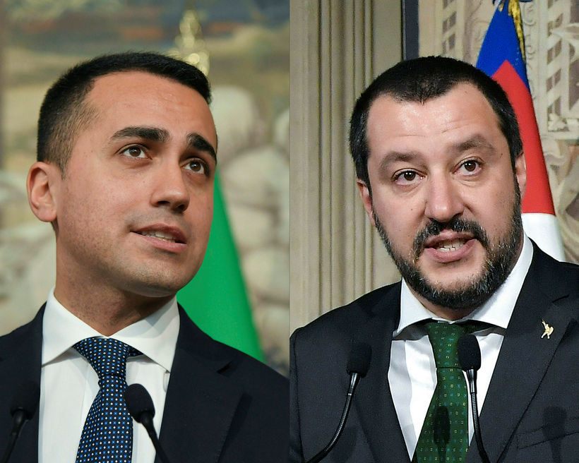 Luigi Di Maio, leiðtogi Fimm stjörnu hreyfingarinnar, og Matteo Salvini, ...