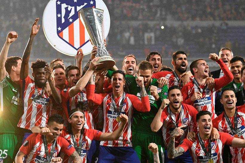 Atlético Madrid fagnar sigri í Evrópudeildinni í kvöld.