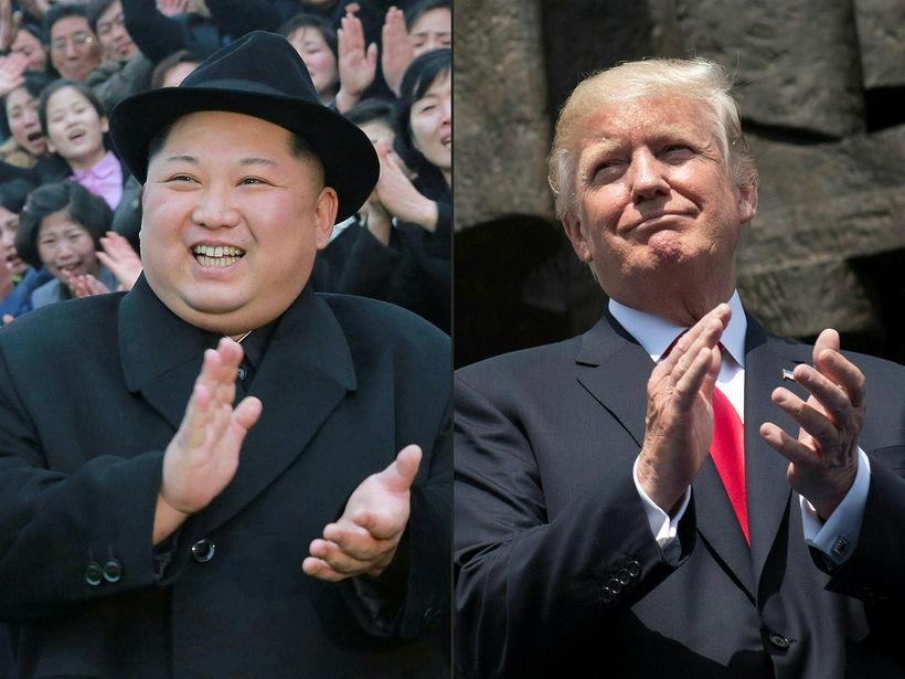 Kim Jong-un og Trump á samsettri mynd.