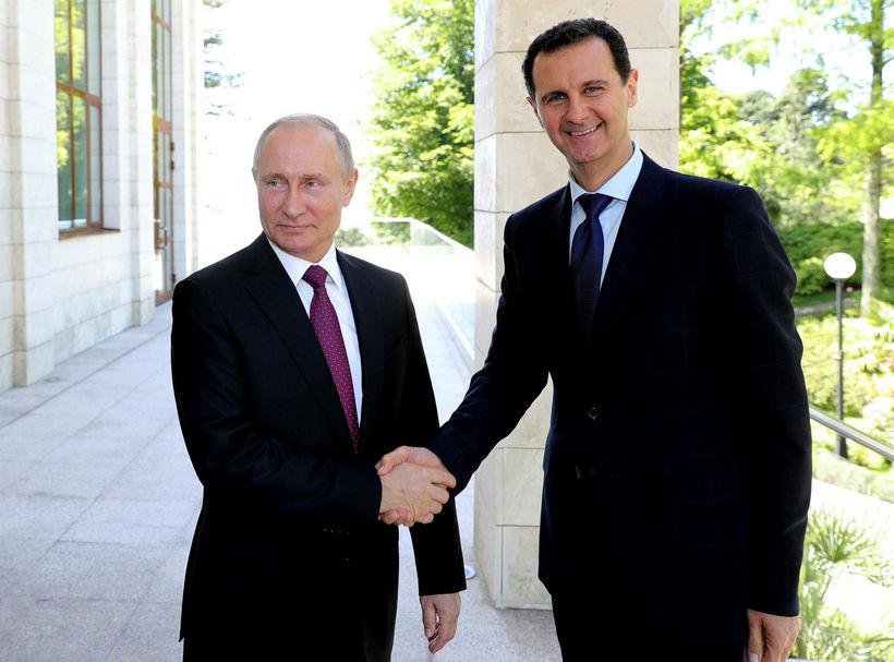 Vladimír Pútín Rússlandsforseti og Bashar al-Assad Sýrlandsforseti komu saman til ...