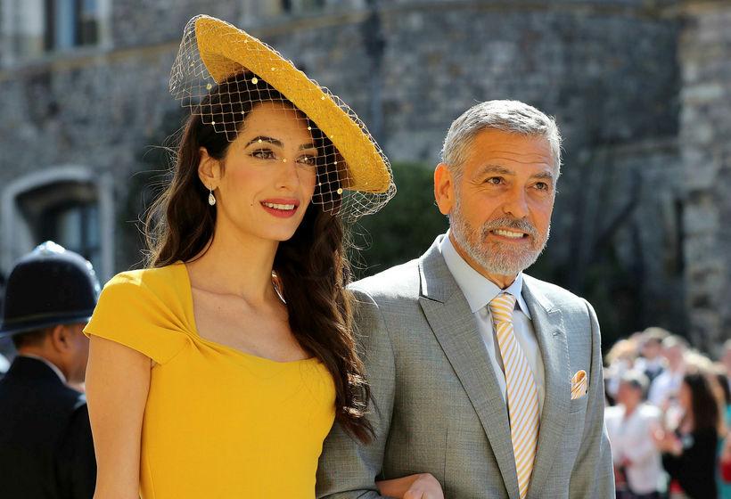 Amal og George Clooney í brúðkaupi Harry og Meghan í ...