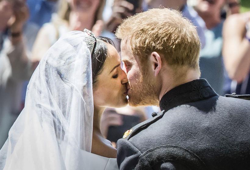Harry og Meghan giftu sig í Windsor í fyrra.