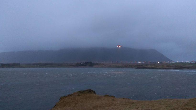 Þyrla Landhelgisgæslunnar aðstoðaði við leit að manninum í nótt.