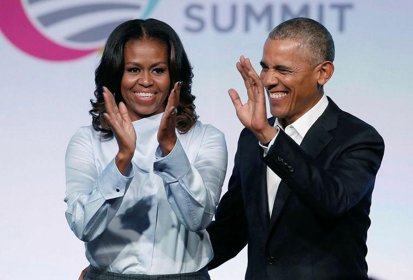 Michelle og Barack Obama, fyrrverandi forsetahjón Bandaríkjanna.