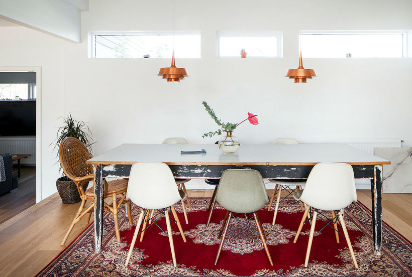 The copper lights add a sixties feel.