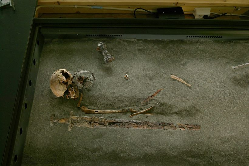 A skeleton from the age of settlement in Iceland.