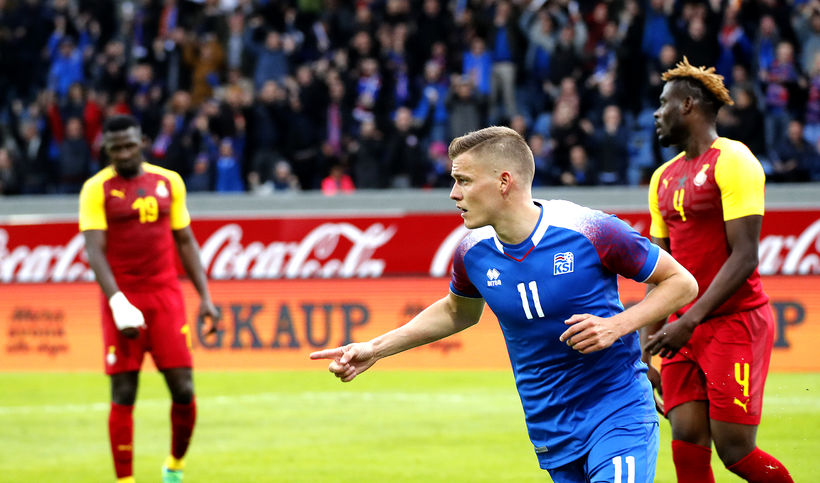 Alfreð Finnbogason celebrates after the team's second goal.