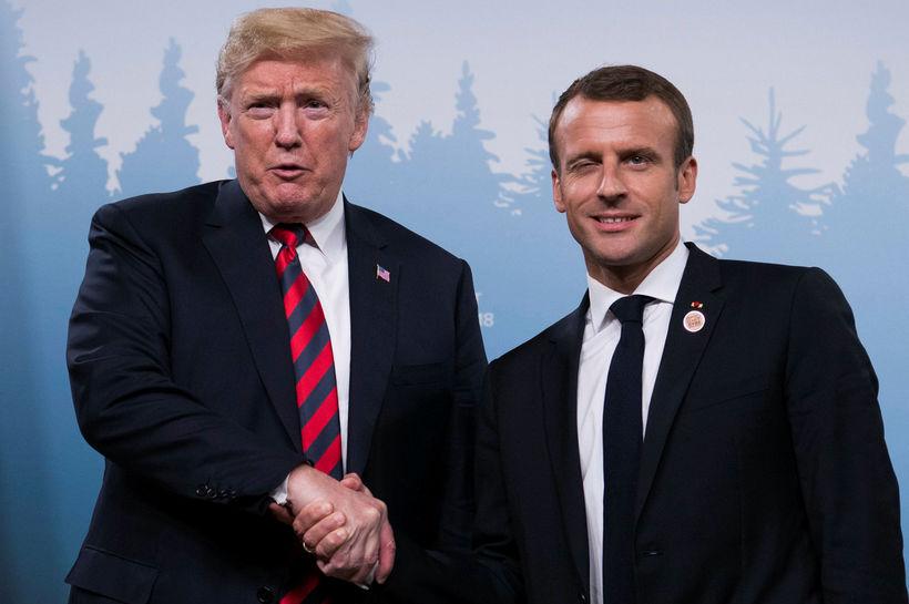 Donald Trump og Emmanuel Macron.