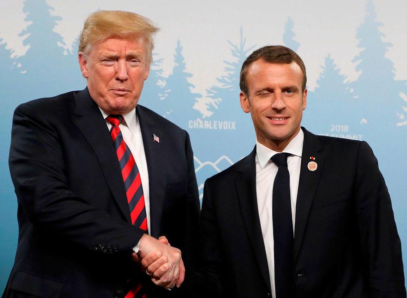 Donald Trump og Emmanuel Macron í Kanada.