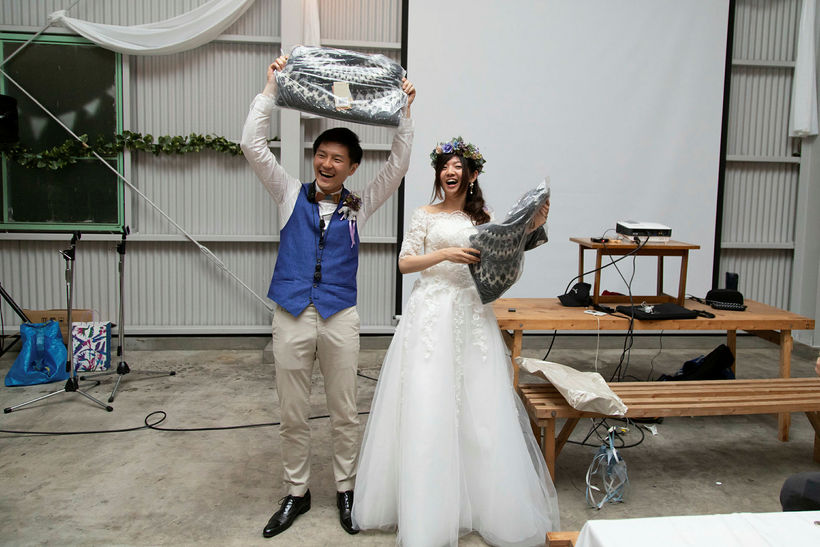 The couple also received woolen jumpers as a wedding present.