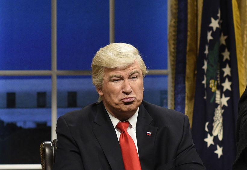 Alec Baldwin í hlutverki Donald Trump hefur vakið lukku.