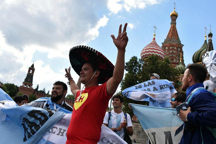 Stuðningsmenn Argentínu eru mættir til Moskvu.