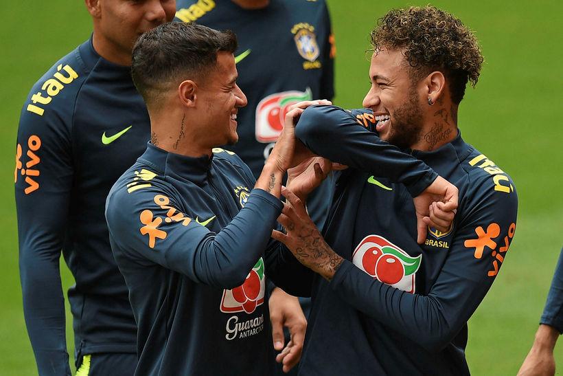 Þeir Philippe Coutinho og Neymar verða báðir í byrjunarliði Brasilíu ...