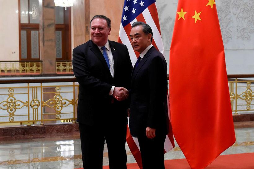 Mike Pompeo og Wang Yi. Utanríkisráðherrar Bandaríkjanna og Kína hittust ...