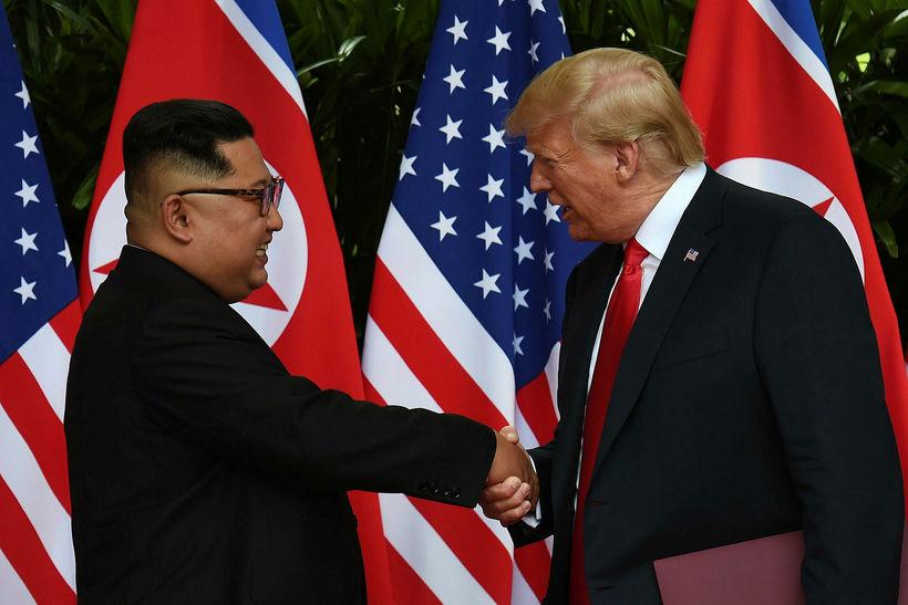 Vel virtist fara á með Trump og Kim á fundinum ...