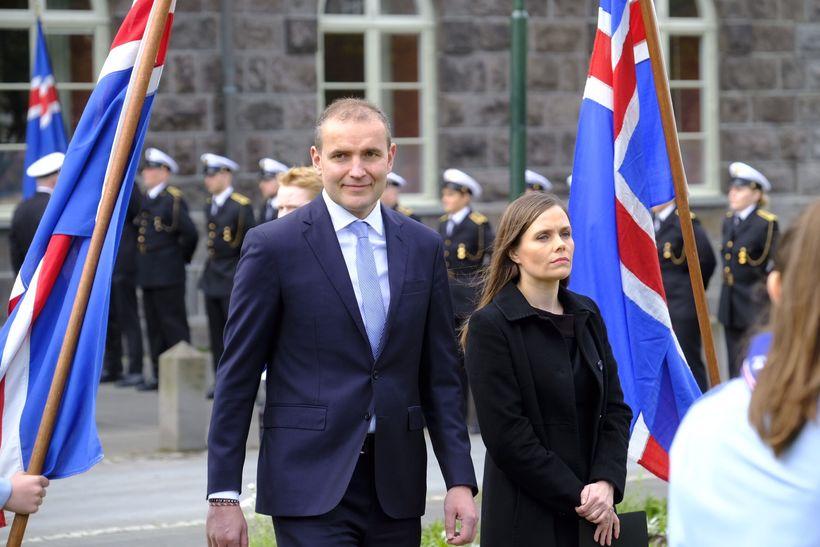 Þjóðhátíð á Austurvelli. 17. júní. Guðni Th. Jóhannesson, forseti Íslands, ...