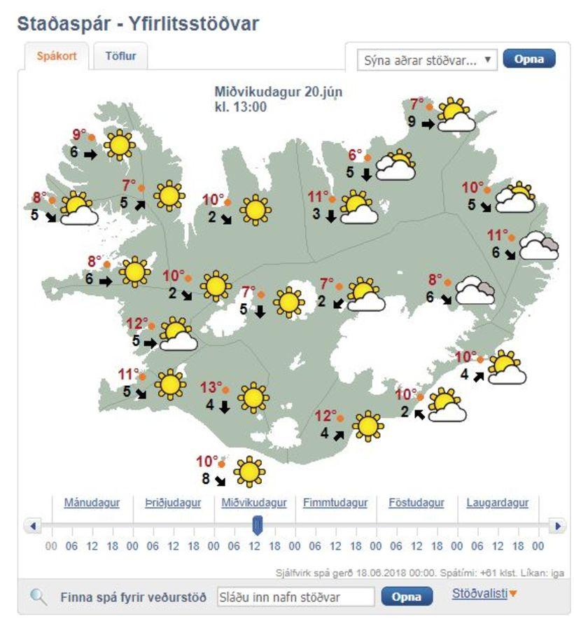 Veðrið á hádegi á miðvikudag.