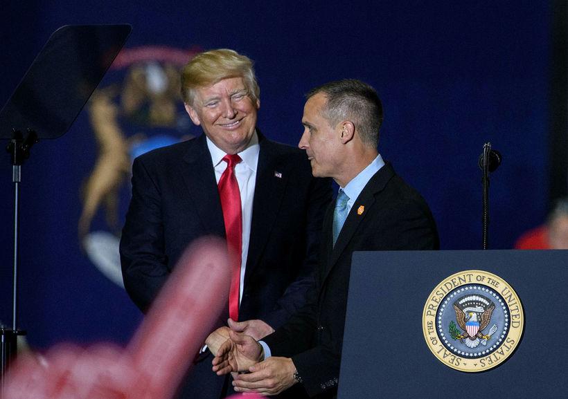 Donald Trump Bandaríkjaforseti og fyrrum framboðsstjóri hans, Corey Lewandowski.