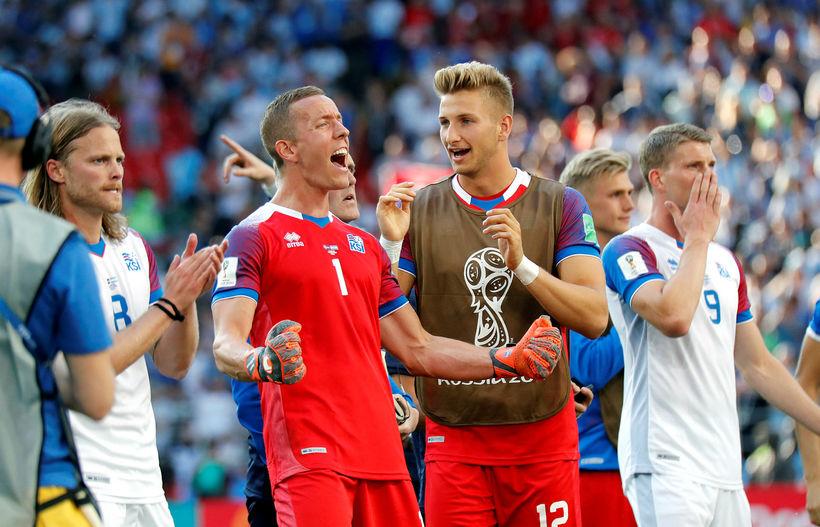 Hannes Þór Halldórsson og félagar fagna í Rússlandi.