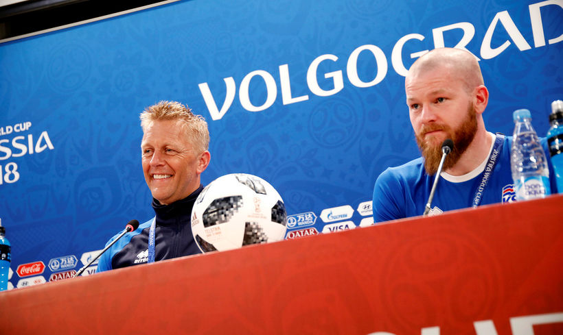 Heimir Hallgrímsson and Aron Einar Gunnarsson at a press conference ...