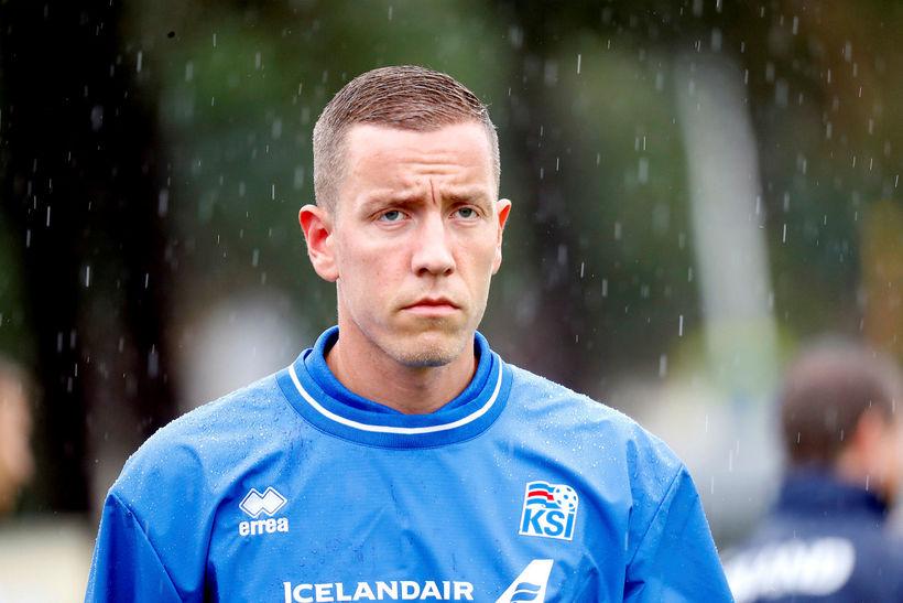 Hannes Þór Halldórsson á æfingunni í Kabardinka í morgun.