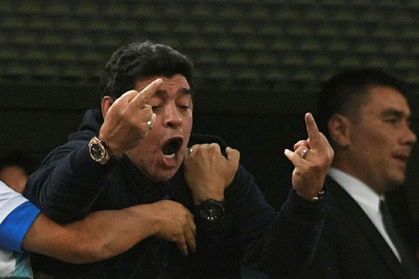 Maradona var vægast sagt æstur þegar Rojo skoraði.