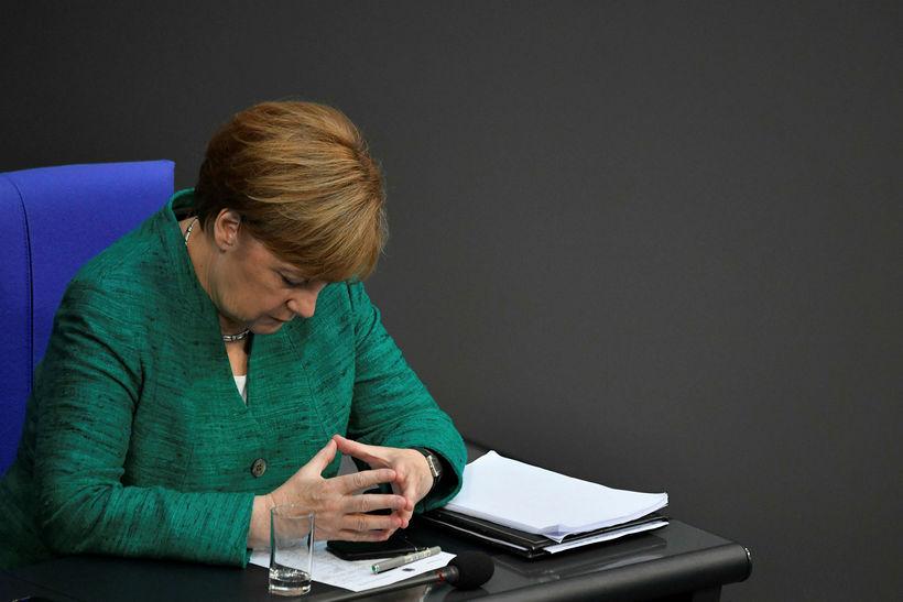 Angela Merkel kanslari á þýska þinginu í dag.