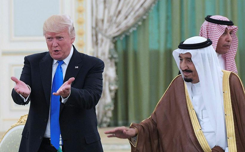 Donald Trump og Salman konungur á fundi á síðasta ári.