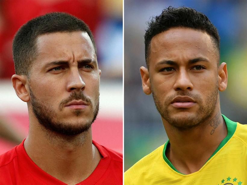 Eden Hazard og Neymar mætast á morgun þegar Belgía mætir ...