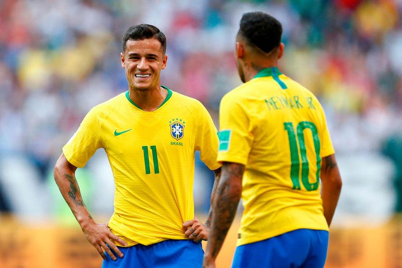 Philippe Coutinho ásamt Neymar á HM í Rússlandi.