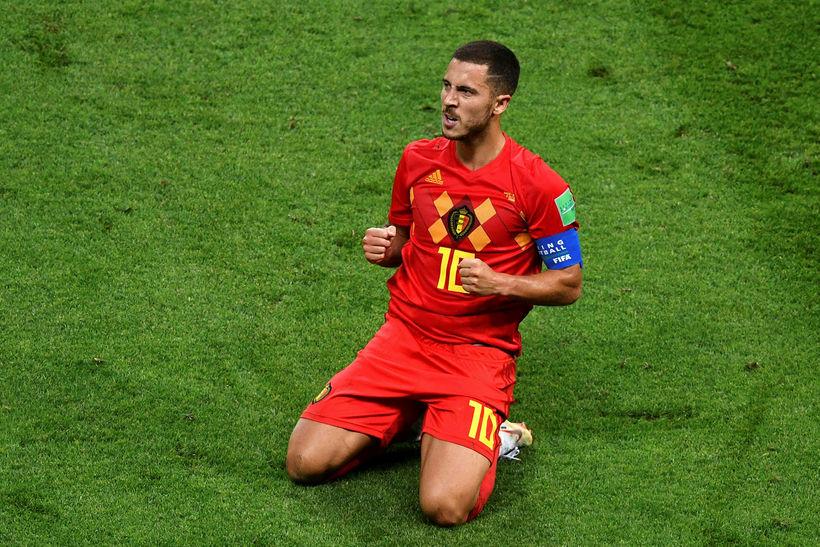Eden Hazard fagnar marki með Belgum á HM.