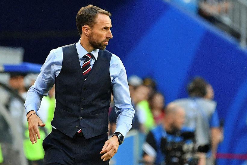 Gareth Southgate er alltaf glerfínn á leikjum Englands.