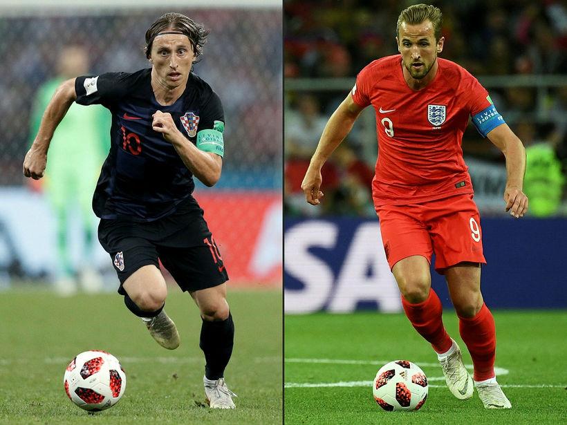 Fyrirliðarnir Luka Modric og Harry Kane.