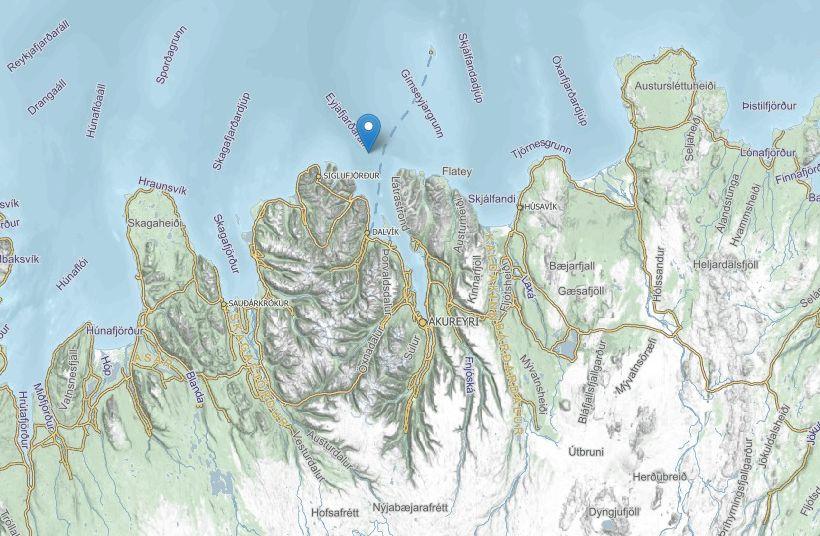 Skjálftinn varð 14 kílómetra norðvestan Gjögurtár, í mynni Eyjafjarðar.