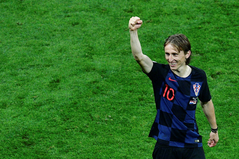 Luka Modric fagnar sigri sinna manna.