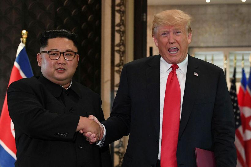 Kim Jong-un og Donald Trump hittust á leiðtogafundi í Singapúr ...