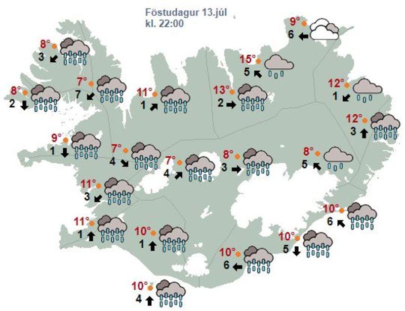 Annað kvöld verður varla þurr blettur á landinu.
