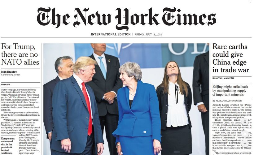 Katrín Jakobsdóttir forsætisráðherra er áberandi á forsíðu New York Times ...