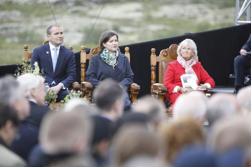 Forsetahjónin Guðni Th. Jóhannesson og Eliza Reid ásamt Piu Kjærsgaard, ...