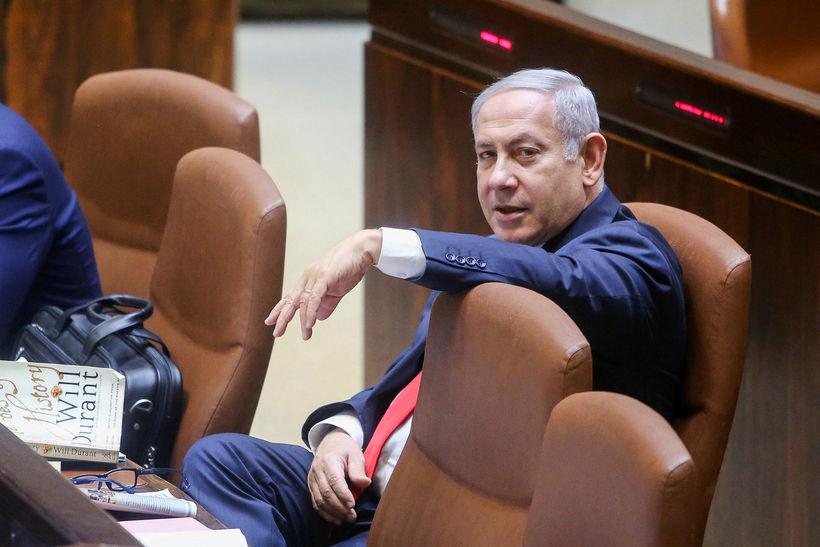 Benjamín Netanjahú í þingsal í gær.