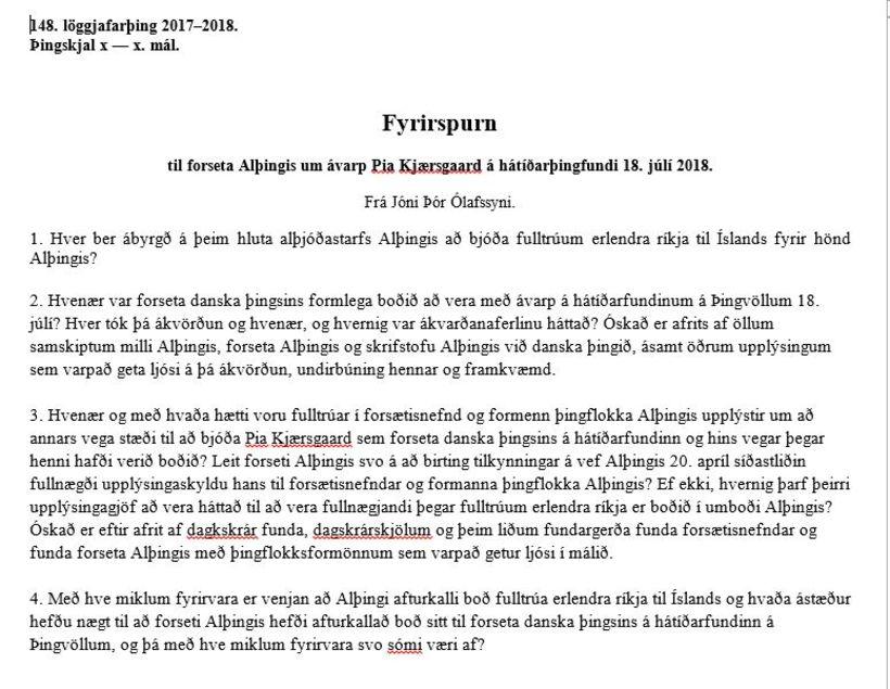 Fyrirspurn Jóns Þórs.