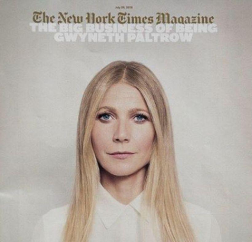 Gwyneth Paltrow framan á tímariti New York Times.