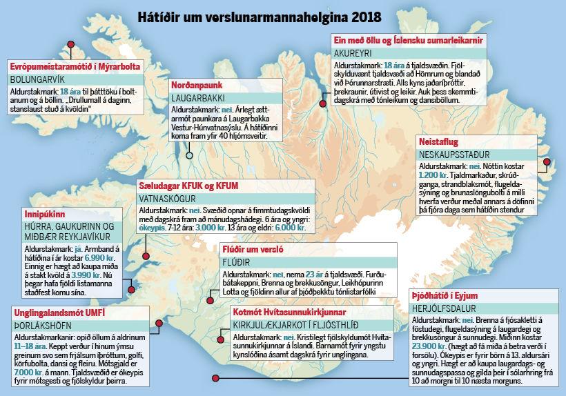 Mikið verður um að vera um land allt um verslunarmannahelgina.