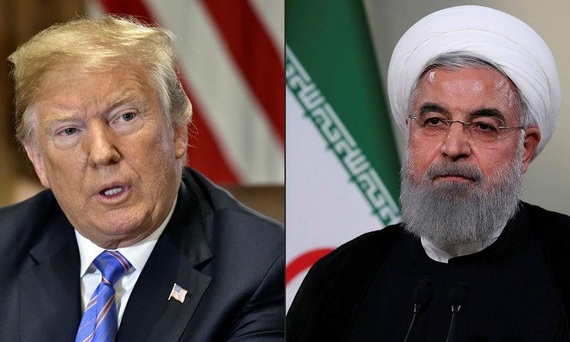 Donald Trump Bandaríkjaforseti og Hassan Rouhani, forseti Írans.